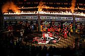 Winner #20: Christopher Bell, Joe Gibbs Racing, Toyota Supra Rheem, podium, Victory Lane, fire