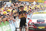 Sepp Kuss (USA) Jumbo-Visma from the breakaway can't quite believe he's won Stage 15 of the 2021 Tour de France, running 191.3km from Céret to Andorre-La-Vieille, Andorra. 11th July 2021.  <br /> Picture: Colin Flockton | Cyclefile<br /> <br /> All photos usage must carry mandatory copyright credit (© Cyclefile | Colin Flockton)