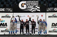 #57 Winward Racing Mercedes-AMG GT GT4, GS: Bryce Ward, Philip Ellis, #35 Riley Motorsports Mercedes-AMG GT GT4, GS: James Cox, Dylan Murry, Jeroen Bleekemolen, #4 Winward Racing Mercedes-AMG GT GT4, GS: Russell Ward, Indy Dontje, podium