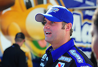 Feb. 17 2012; Chandler, AZ, USA; NHRA funny car driver Matt Hagan in the pits prior to the first round of qualifying at the Arizona Nationals at Firebird International Raceway. Mandatory Credit: Mark J. Rebilas-