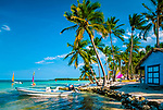 Dominikanische Republik, Punta Cana Beach Resort: Strand, Huette, Boote | Dominican Republic, Punta Cana Beach Resort, beach, hut, boats