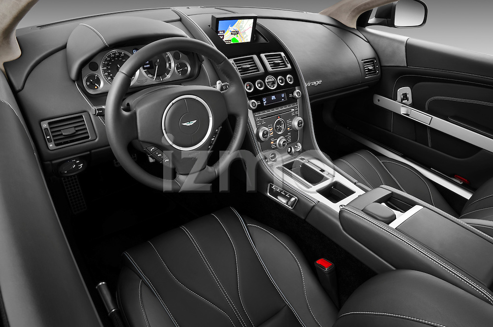 High angle dashboard view of a 2012 Aston Martin Virage