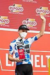 Polka Dot Jersey Michael Storer (AUS) Team DSM most aggressive rider from yesterday's stage at sign on before Stage 19 of La Vuelta d'Espana 2021, running 191.2km from Tapia de Casariego to Monforte de Lemos, Spain. 3rd September 2021.    <br /> Picture: Cxcling   Cyclefile<br /> <br /> All photos usage must carry mandatory copyright credit (© Cyclefile   Cxcling)
