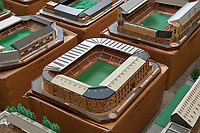 BNPS.co.uk (01202 558833)<br /> Pic: Zachary Culpin/BNPS<br /> <br /> Pictured: Man United's, Old Trafford<br /> <br /> An incredible collection of model football stadiums handmade by a soccer fan have sold for almost £19,000 after being found in a storage unit.<br /> <br /> Model-maker John Le Maitre created miniature versions of all 92 English Football League club grounds from the 1980s, as well as the old Wembley Stadium.<br /> <br /> They featured on a Blue Peter episode that year and are a throwback to a bygone age when football grounds with their banks of terraces looked very different to today's super stadiums.