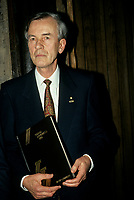 1990 File Photo - Quebec (Qc) CANADA :  Jean Campeau arrive  at the Belanger-Campeau Commission hearing in the National Assembly Salon Rouge.<br /> <br /> <br /> Belanger-Campeau Commission' (formally known as the Commission on the Political and Constitutional Future of Quebec), on the initiative of Premier Robert Bourassa. Its mandate was to examine the political and constitutional status of Quebec and to make recommendations for change in a report to the National Assembly no later than 28 March 1991. Its work proceeded concurrently with, but was entirely separate from, that of the Quebec Liberal Party's constitutional committee headed by Jean Allaire (see Allaire Report).