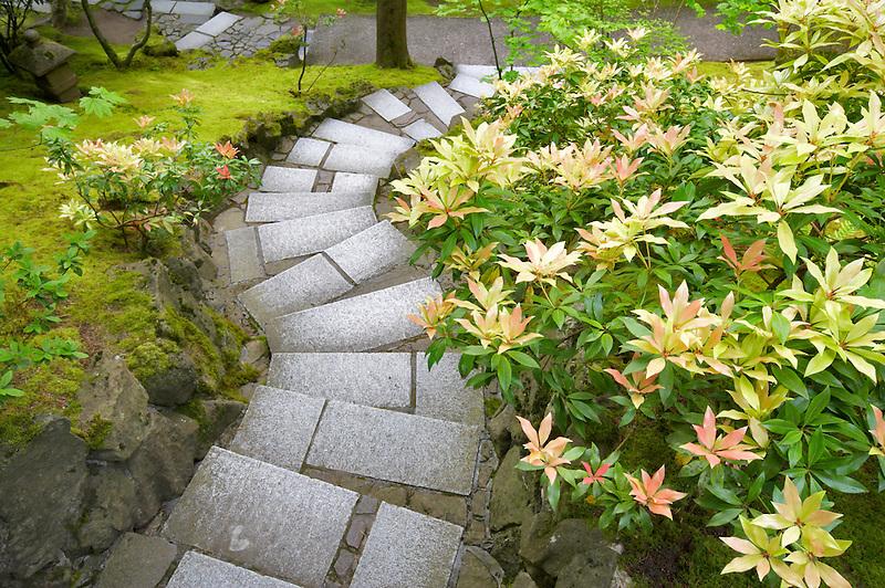 Japanese Garden with path. Portland. Oregon