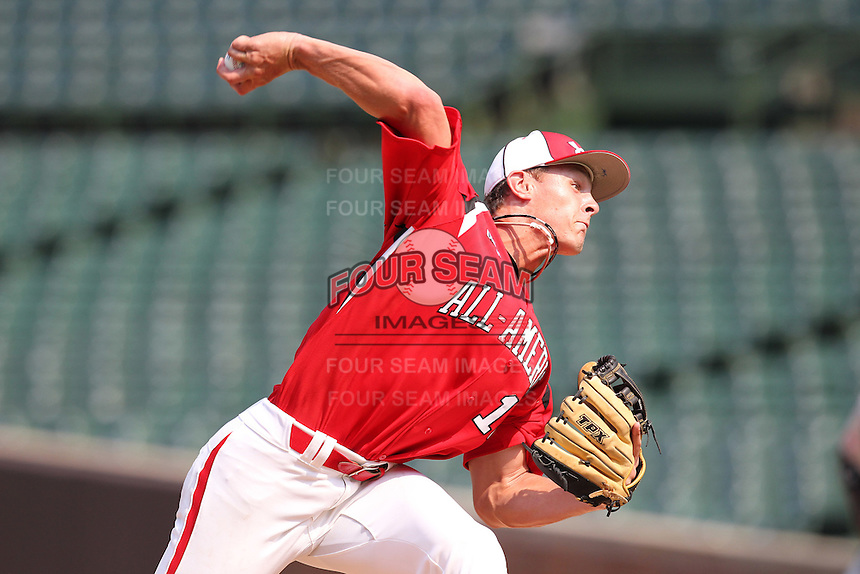 Pitcher Jerrick Suiter (16) during the 2010 Under Armour All-American Game powered by Baseball Factory at Wrigley Field in Chicago, New York;  August 14, 2010.  Photo By Mike Janes/Four Seam Images