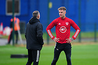 Ryan Giggs, Manager of Wales speaks Joe Rodon during the Wales Training Session at The Vale Resort in Cardiff, Wales, UK. Monday 5 October 2020