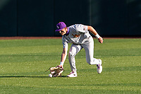 LSU Tigers outfielder Brody Drost (10) warms up prior to the game against the Tennessee Volunteers on Robert M. Lindsay Field at Lindsey Nelson Stadium on March 26, 2021, in Knoxville, Tennessee. (Danny Parker/Four Seam Images)