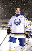 Danny Gare (18) during introductions before The Frozen Frontier Buffalo Sabres vs. Rochester Amerks Alumni Game at Frontier Field on December 15, 2013 in Rochester, New York.  (Copyright Mike Janes Photography)