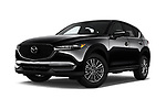Stock pictures of low aggressive front three quarter view of a 2018 Mazda CX-5 Sport 5 Door SUV