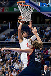 Real Madrid´s player Gustavo Ayon and Bayern Munich´s player Bryant during the 4th match of the Turkish Airlines Euroleague at Barclaycard Center in Madrid, Spain, November 05, 2015. <br /> (ALTERPHOTOS/BorjaB.Hojas)