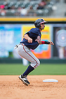 Jose Peraza (1) of the Gwinnett Braves takes his lead off of second base against the Charlotte Knights at BB&T BallPark on July 3, 2015 in Charlotte, North Carolina.  The Braves defeated the Knights 11-4 in game one of a day-night double header.  (Brian Westerholt/Four Seam Images)
