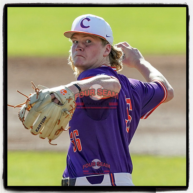 Pitcher Ty Olenchuk (34) of the Clemson Tigers delivers a pitch in a fall Orange-Purple intrasquad scrimmage on Saturday, November 14, 2020, at Doug Kingsmore Stadium in Clemson, South Carolina. (Tom Priddy/Four Seam Images)