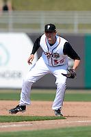 Lansing Lugnuts first baseman Jordan Leyland (35) during a game against the Dayton Dragons on August 25, 2013 at Cooley Law School Stadium in Lansing, Michigan.  Dayton defeated Lansing 5-4 in 11 innings.  (Mike Janes/Four Seam Images)