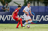 GEORGETOWN, GRAND CAYMAN, CAYMAN ISLANDS - NOVEMBER 19: Tyler Boyd #21 of the United States dribbles with the ball past Jean Carlos Rodriguez #17 of Cuba during a game between Cuba and USMNT at Truman Bodden Sports Complex on November 19, 2019 in Georgetown, Grand Cayman.