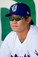 Tae-Hyeok Nam (44) of the Ogden Raptors prior to the game against the Orem Owlz at Lindquist Field on July 27, 2012 in Ogden, Utah.  The Raptors defeated the Owlz 6-3.   (Brian Westerholt/Four Seam Images)