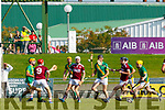 Tommy Casey, Causeway in action against Daniel Collins, Kilmoyley during the Kerry County Senior Hurling Championship Final match between Kilmoyley and Causeway at Austin Stack Park in Tralee