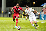 Akande, Alexander Oluwatayo of Hong Kong (L) fights for the ball with Tareq Khattab of Jordan (R) during the International Friendly match between Hong Kong and Jordan at Mongkok Stadium on June 7, 2017 in Hong Kong, China. Photo by Cris Wong / Power Sport Images