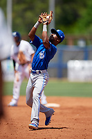 Dunedin Blue Jays second baseman Samad Taylor (1) catches a popup during a Florida State League game against the Charlotte Stone Crabs on April 17, 2019 at Charlotte Sports Park in Port Charlotte, Florida.  Charlotte defeated Dunedin 4-3.  (Mike Janes/Four Seam Images)