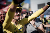 yellow jersey / GC leader Julian Alaphilippe (FRA/Deceuninck - Quick-Step) surprisingly wins the TT stage around Pau and is overjoyed when he finds his crew at the finish<br /> <br /> Stage 13 (ITT): Pau to Pau(27km)<br /> 106th Tour de France 2019 (2.UWT)<br /> <br /> ©kramon