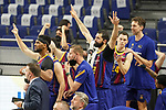 FC Barcelona's Brandon Davies, Nick Calathes, Leandro Bolmaro, Nikola Mirotic, Kyle Kuric and Pau Gasol celebrate during Liga Endesa ACB 1st Final match. June 13,2021. (ALTERPHOTOS/Acero)