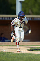 Kier Meredith (3) (Clemson) of the High Point-Thomasville HiToms hustles down the first base line against the Statesville Owls at Finch Field on July 19, 2020 in Thomasville, NC. The HiToms defeated the Owls 21-0. (Brian Westerholt/Four Seam Images)
