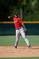 GCL Twins shortstop Jesus Feliz (1) throws to first base during a Gulf Coast League game against the GCL Pirates on August 6, 2019 at Pirate City in Bradenton, Florida.  GCL Twins defeated the GCL Pirates 4-2 in the first game of a doubleheader.  (Mike Janes/Four Seam Images)
