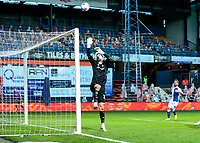 21st November 2020; Kenilworth Road, Luton, Bedfordshire, England; English Football League Championship Football, Luton Town versus Blackburn Rovers; Simon Sluga goal keeper for Luton Town tips the ball over his crossbar to make the save