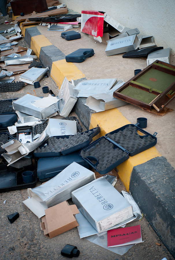 Empty boxes from looted guns in the Bab Al Aziziya compound in Tripoli, Libya