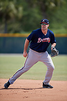 Atlanta Braves Austin Bush (95) during practice before a minor league Spring Training game against the Pittsburgh Pirates on March 13, 2018 at Pirate City in Bradenton, Florida.  (Mike Janes/Four Seam Images)
