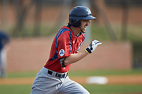 Michael Anastasia (9) of the NJIT Highlanders hustles down the first base line against the High Point Panthers at Williard Stadium on February 18, 2017 in High Point, North Carolina. The Panthers defeated the Highlanders 11-0 in game one of a double-header. (Brian Westerholt/Four Seam Images)