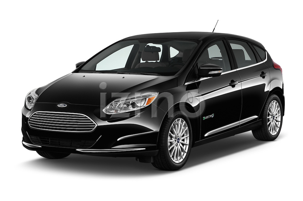 2016 Ford Focus 5-Door-Hatch-Electric 5 Door Hatchback Angular Front stock photos of front three quarter view