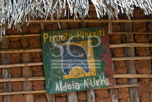 Pará State, Brazil. Aldeia A-Ukre (Kayapó). Sign of the Pinkaití Project - Projeto Pinkeiti.