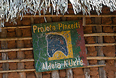 Pará State, Brazil. Aldeia A-Ukre (Kayapó). Sign of the Pinkaití Project - Projeto Pinkeiti.