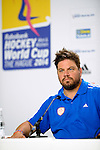 The Hague, Netherlands, June 07: Head coach Max Caldas of The Netherlands during the press conference after the field hockey group match (Group A) between Australia and The Netherlands on June 7, 2014 during the World Cup 2014 at Kyocera Stadium in The Hague, Netherlands. Final score 0-0 (0-2) (Photo by Dirk Markgraf / www.265-images.com) *** Local caption ***