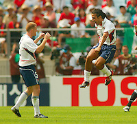Pablo Mastroeni, right, and John O'Brien, left, celebrate as the USA defeated Mexico 2-0 in the Round of 16 of the FIFA World Cup 2002 in South Korea on June 17, 2002.