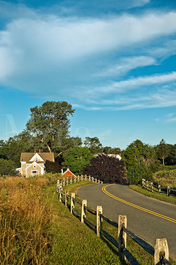 Scenic country road, Fort Hill area, Cape Cod, MA, USA