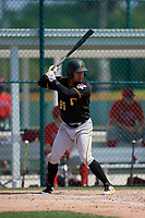 Pittsburgh Pirates Fernando Villegas (99) during a minor league Spring Training game against the Philadelphia Phillies on March 13, 2019 at Pirate City in Bradenton, Florida.  (Mike Janes/Four Seam Images)