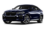 Stock pictures of low aggressive front three quarter view of a 2020 BMW X6 Base 5 Door SUV