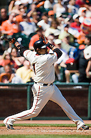 12 April 2008: Catcher #1 Bengie Molina hits the ball during the St. Louis Cardinals 8-7 victory over the San Francisco Giants at the AT&T Park in San Francisco, CA.