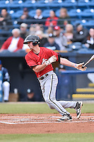 Kannapolis Intimidators third baseman Cody Daily (31) swings at a pitch during a game against the Asheville Tourists at McCormick Field on May 19, 2016 in Asheville, North Carolina. The Intimidators defeated the Tourists 10-7. (Tony Farlow/Four Seam Images)