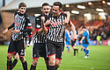 Par's Lawrence Shankland (right) celebrates after he scores their third goal on his debut.