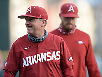 Arkansas coach Dave Van Horn smiles Tuesday, April 6, 2021, as he returns to the dugout before the start of play against ULAR at Baum-Walker Stadium in Fayetteville. Visit nwaonline.com/210407Daily/ for today's photo gallery. <br /> (NWA Democrat-Gazette/Andy Shupe)