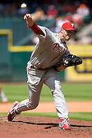 Philadelphia Phillies pitcher Roy Halladay against the Houston Astros on Sunday April 11th, 2010 at Minute Maid Park in Houston, Texas.  (Photo by Andrew Woolley / Four Seam Images)