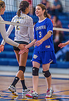 26 October 2014: Yeshiva University Maccabee Middle Blocker Shana Wolfstein, a Senior from Burlington,VT, congratulates the College of Mount Saint Vincent Dolphins, in Riverdale, NY. The Dolphins defeated the Maccabees 3-0 in the NCAA Division III Women's Volleyball Skyline matchup. Mandatory Credit: Ed Wolfstein Photo *** RAW (NEF) Image File Available ***
