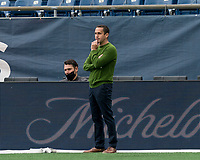 FOXBOROUGH, MA - MAY 12: Union Omaha coach Jay Mims during a game between Union Omaha and New England Revolution II at Gillette Stadium on May 12, 2021 in Foxborough, Massachusetts.