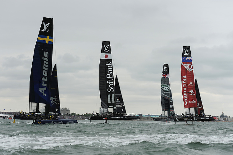 Artemis Racing, SoftBank Team Japan, Land Rover BAR and Emirates Team New Zealand race during day two of the Louis Vuitton America's Cup World Series racing, Portsmouth, United Kingdom. (Photo by Rob Munro/Stewart Communications)