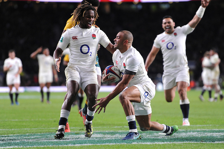 Marland Yarde of England congratulates Jonathan Joseph of England on scoring a try during the Old Mutual Wealth Series match between England and Australia at Twickenham Stadium on Saturday 3rd December 2016 (Photo by Rob Munro)