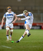 12th February 2021; AJ Bell Stadium, Salford, Lancashire, England; English Premiership Rugby, Sale Sharks versus Bath;  Rhys Priestland of Bath Rugby kicks a penalty to make the score 27-10 to Bath